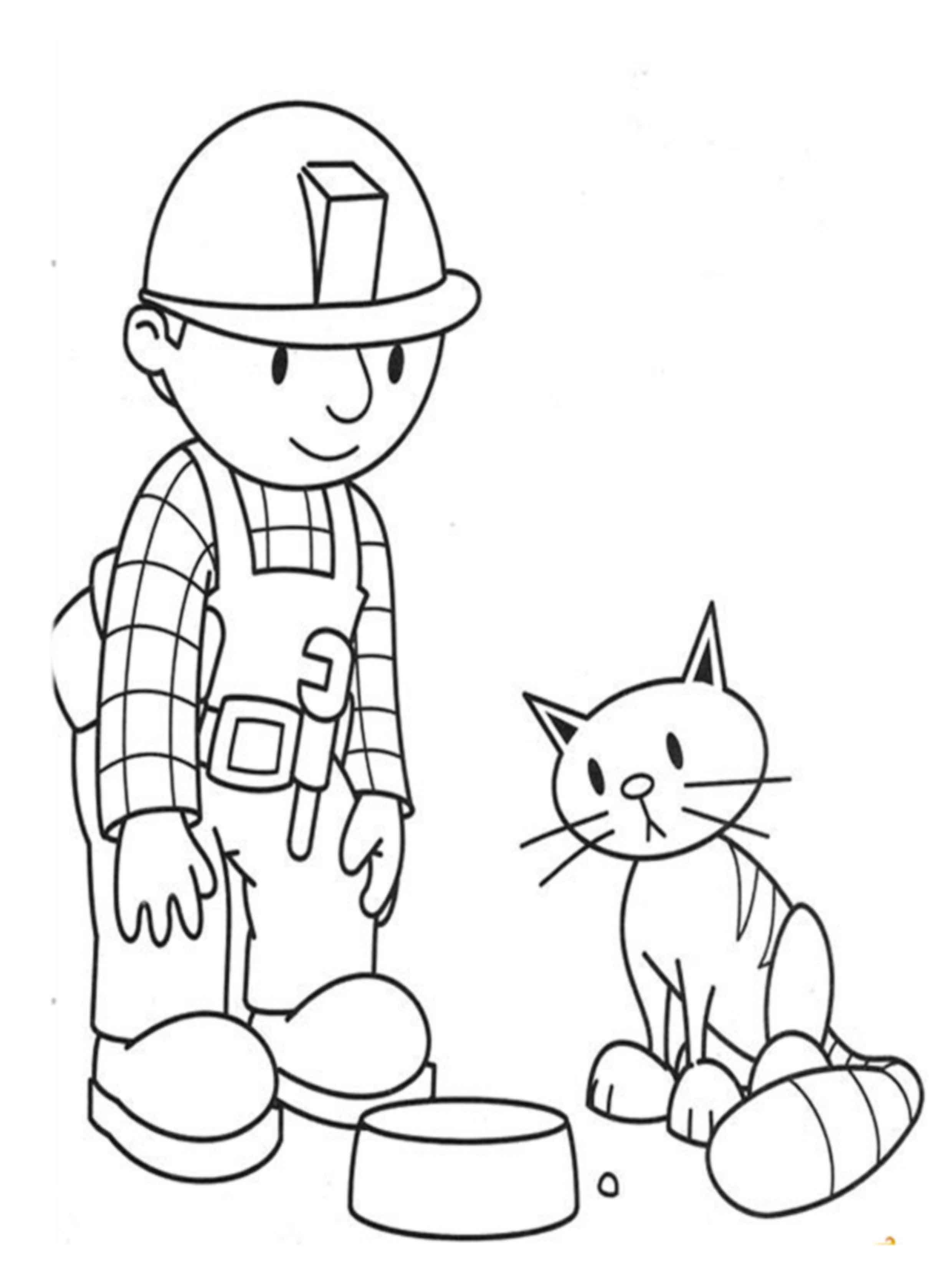 דפי צביעה של בוב הבנאי עם החתול