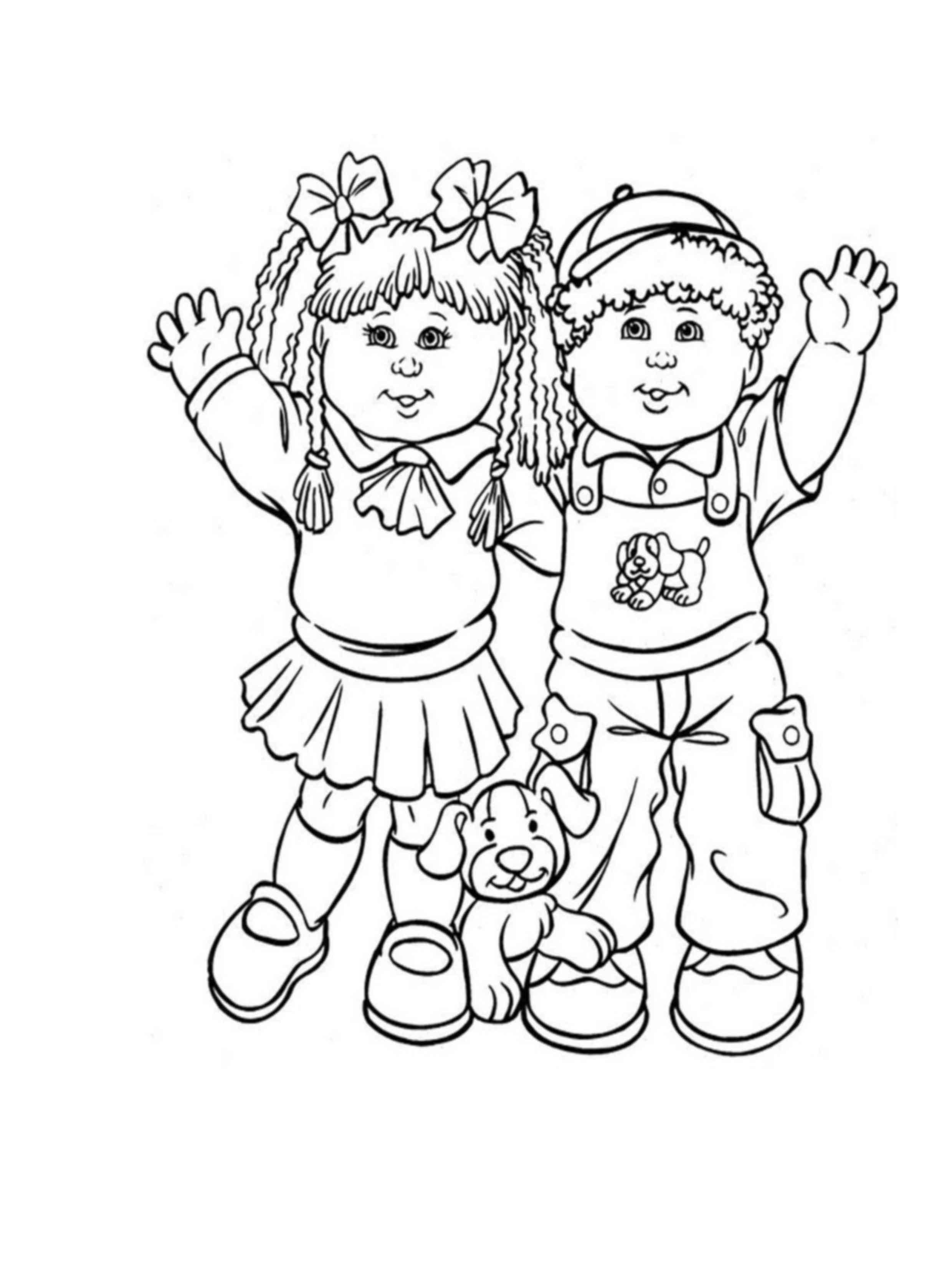 דף צביעה של ילד וילדה