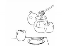 תמונה לצביעה לכבוד ראש השנה, תפוח בדבש