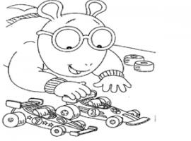 דף צביעה של ארתור משחק עם מכוניות