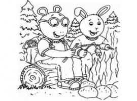 דפי צביעה ארתור ובסטר עושים מדורה