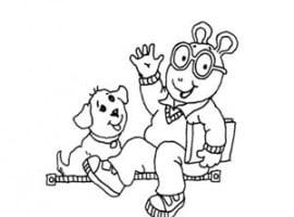 דף יצירה של ארתור עם הכלב