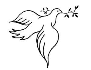 דף צביעה של יונה עם עלה זית
