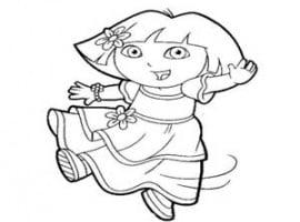 דף צביעה דורה עם שמלה