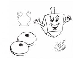 דף יצירה לילדים לחג חנוכה סביבון ולביבות