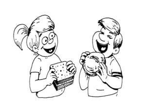 דף צביעה של ילד וילדה אוכלים