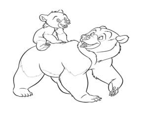 דף צביעה דוב קטן ודוב גדול