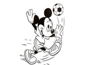 דף צביעה מיקי מאוס משחק בכדור
