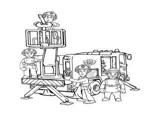 דף צביעה של כל הצוות של סמי הכבאי