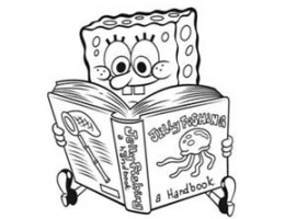 דף צביעה בוב ספוג קורא ספר