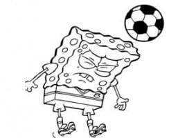 דף צביעה של בוב ספוג משחק כדורגל