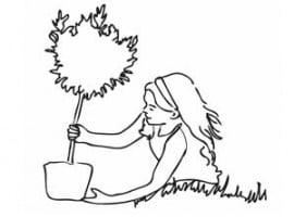 דף צביעה לטו בשבט, ילדה נוטעת עץ