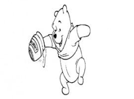 דף צביעה של פו הדוב עם צינצנת דבש