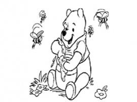 פו הדוב אוכל דבש עם הדבורים