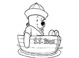 דף צביעה של פו הדוב בסירה