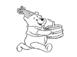 דף צביעה פו הדוב חוגג יום הולדת