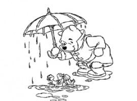 דף צביעה של פו הדוב עם מטריה בגשם