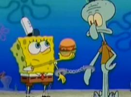 בוב ספוג מדבר עם חברים במים